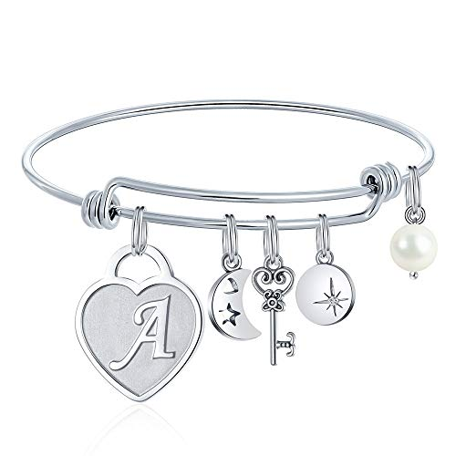 Heart Charm Bracelets For Women - Initial Charm Engraved Letter A Initial Bracelet Stainless Steel Expandable Charms Bangle Bracelets Birthday Jewelry Gifts for Women Teen Girls