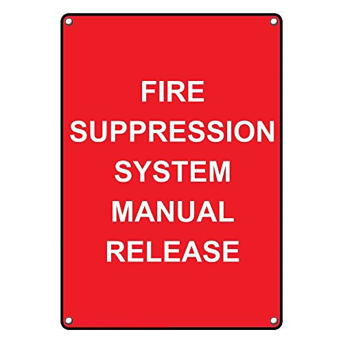 Weatherproof Plastic Vertical Fire Suppression System Manual Release Sign with English Text (Suppression System Kitchen Fire)