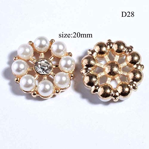 - Maslin 2PCS Hot Sale Chic Silver Crystal Rhinestone Buttons with Ivory Pearls for Shoe Cloth Clear Glass Button for Wedding Invitation - (Color: D28)