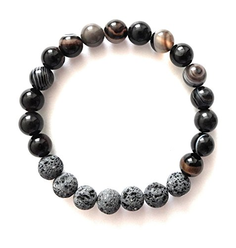 Midnight Kisses Authentic Lava Stone Bracelets for Women Essential Oil Aromatherapy for Ideal Stress & Anxiety Relief-Chakra Diffuser Healing Rock Beads-Meditation Yoga Jewelry (Black)