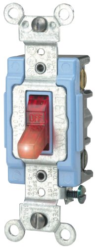 Amp, 120 Volt, Toggle Pilot Light, Neutral 3-Way AC Quiet Switch, Extra Heavy Duty Grade, Self Grounding, Back and Side Wired, Red ()