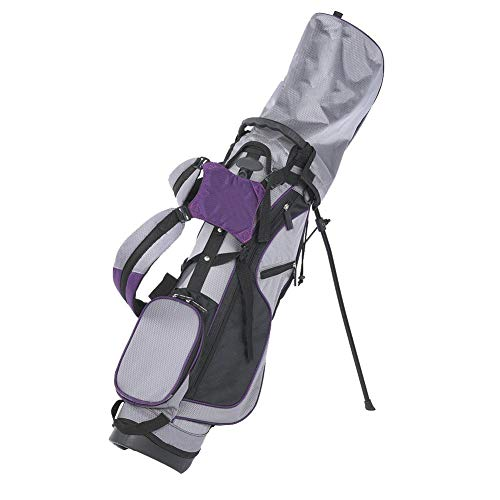 Golf Stand Bag Lightweight Golf Carry Bag Nylon Compact Golf Storage Bag Tackle Accessory with Side Pocket Purple for…