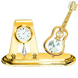 24k Gold Plated Guitar Desk Clock with Clear Swarovski Element Crystals