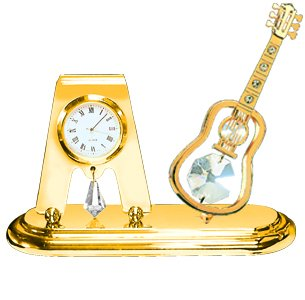 - 24k Gold Plated Guitar Desk Clock with Clear Swarovski Element Crystals