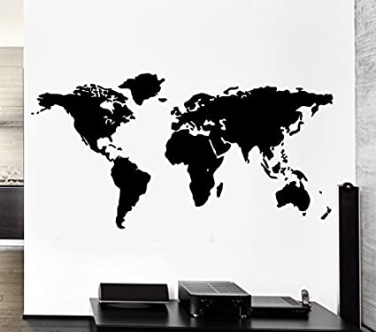 World Map Outline Continents Country Nations Europe Asian Africa Mural Wall  Art Decor Vinyl Sticker P017