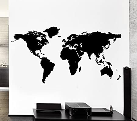 World map outline continents country nations europe asian africa world map outline continents country nations europe asian africa mural wall art decor vinyl sticker p017 gumiabroncs Choice Image