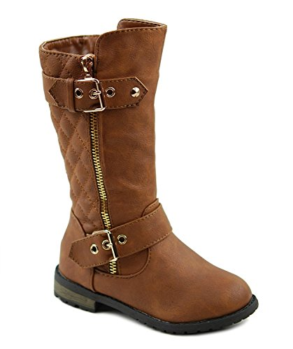 Mango 21KA Baby Girs New Knee High Flat Riding Boots Toddler Tan 8