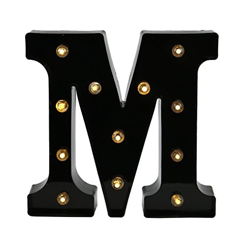 DELICORE Decorative LED Illuminated Letter Marquee Sign - Alphabet Marquee Letters with Lights For Wedding Birthday Party Christmas Night Light Lamp Home Bar Decoration M, Black by DELICORE