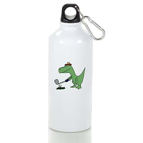 [Drosp Cool Funky Green T-Rex Dinosaur Playing Golf White Aluminum Sports Water Bottle, Great For Outdoor And Sport Activities Sealed Plastic Leak-proof Screw Top 500ml White] (T Rex Costume Video On Ride)