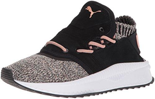 PUMA Womens Tsugi Shinsei Evoknit Sneaker, Black/White/Coral Deal (Large Image)