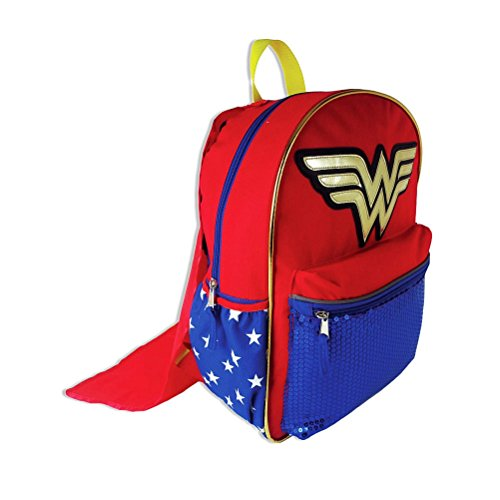 Price comparison product image DC Comics Wonder Woman Backpack with Detachable Cape and Side Mesh Pockets