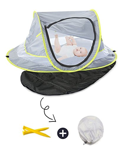 Baby Beach Tent UV Protection UPF 50+ Instant Beach Tent Sun Shelter Pop-up Outdoor Portable Newborn Travel Cribs Bed with Sleeping Pad, Mosquito Net and 2 Pegs Ultralight Weight by Monocho by Monocho