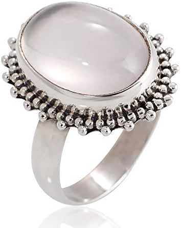 925 Oxidized Sterling Silver Natural Moonstone Gemstone Oval Shaped Vintage Band Ring Size 6, 7, 8