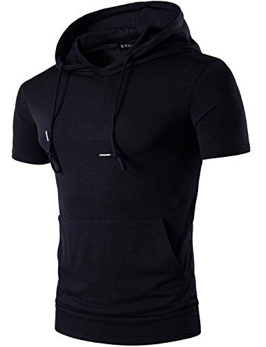 Short Sleeve Hooded Tee (Whatlees Mens Hipster Casual Short Sleeve Hoodies T Shirt Tops with Kangaroo Pocket T49-Black Medium)