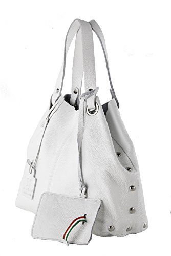 Anna Cecere - Borsa shopper in pelle con tracolla - Made in Italy - Bianco