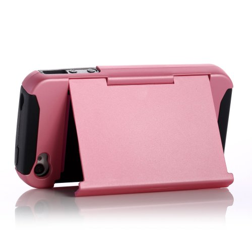 ATC Masione(TM) Apple iPhone 4/4S Credit Card Hard Shell Case Stand with Silicone Core + Screen Protector & Stylus (Credit card Case Pink+Black)
