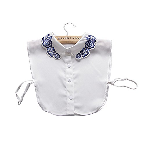 (Vpang Stylish Detachable Fake Collar Half Shirt Blouse Blue and White Porcelain Flowers Embroidered Chiffon False Collar)