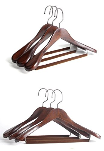 Hangers Gugertree Wooden Extra-Wide Shoulder Flocking Non-Slip Hangerss, Coat Hangerss, Retro Finish, 4-Pack Suitable For (Apes Retro Cloth)