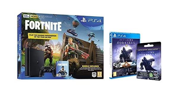 Sony PS4 500GB Fortnite & Royal Bomber Pack + Destiny 2: Forsaken Legendary collection (Amazon exclusive) [Importación inglesa]: Amazon.es: Videojuegos