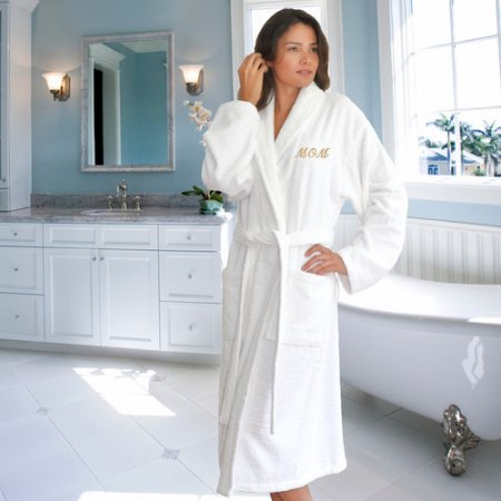Terry Cloth Bathrobe for Mom / White/Gold / Small/Medium by Linum Home Textiles