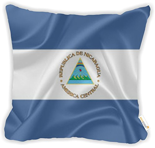 """Rikki Knight Nicaragua Flag Microfiber Throw Décor Pillow Cushion 16"""" Square DOUBLE SIDED PRINT (Insert Included)"""