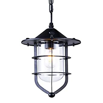 Pendant lights, ZHMA Industrial Vintage Style hanging lamp Ceiling Lighting use Glass House cage -1 light. Black