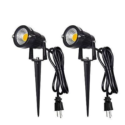 WAROM LED Landscape Spotlight Outdoor,IP65 Waterproof Garden Spotlights,5W AC 120V Yard Flood Light,Metal Ground Stake Lawn Lights,6500K LED Spotlight with 1.5M UL-Listed Cord and 3-Plug