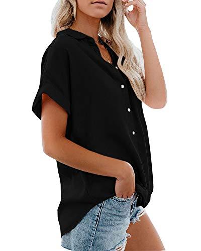 Niitawm Womens Shirts Button Down Pockets Roll Sleeve T Shirt Tops V Neck Side Slipt High Low Tank Tops (Z-Black, X-Large)