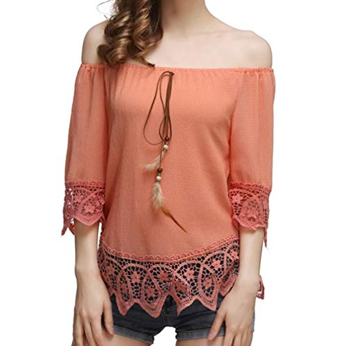 Chiffon Solid Color Openwork Lace One Shoulder Shirt@Women Fashion Chiffon Solid Half Sleeve Floral Border Blouse Slash Neck Top (M, (Orange Border Check)