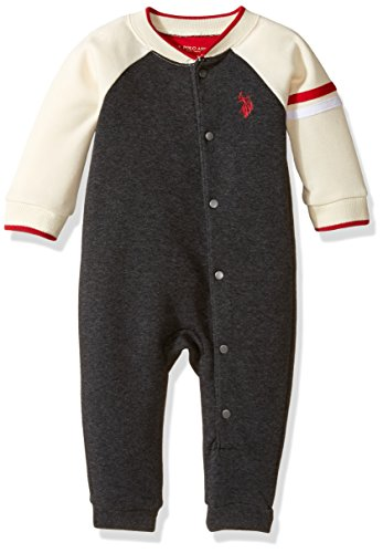 U.S. Polo Assn. Baby Boys' Fleece Varsity Romper, Black Heather, 6-9 Months