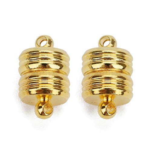 Linsoir Beads 5 Sets Small Strong Magnetic Barrel Clasps Magnetic Jewelry Clasps Strong Enough for All Jewelry Making Gold -