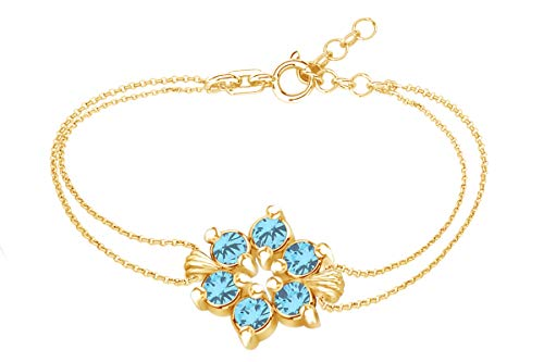 (AFFY Round Shape Simulated Blue Topaz Flower Chain Bracelets in 14k Yellow Gold Over Sterling Silver -7.5