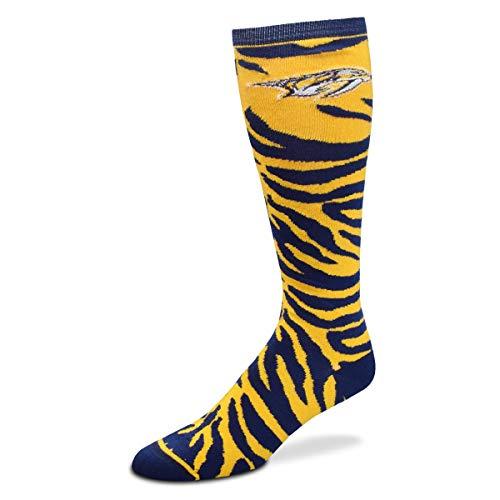 (For Bare Feet NHL Ladies Zebra Print Knee High Socks-Nashville Predators-Medium)