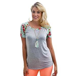 Moda Mujer Sexy vestido, egmy nuevo estilo floral Splice impresión bolsillo sudadera de cuello redondo blusa Tops T Shirt