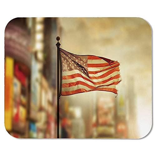 United States Custom Mouse Pad,American Flag Waving in City National Independence Day Celebration Theme for Electronic Games Office,7.87''Wx9.45''Lx0.08''H (Games For Independence Day Celebration In Office)