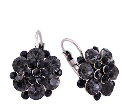 Judith Ripka Gemstone Ring (SunIfSnow Beautiful Girls Coquettish Flower Key personality Earrings Black)