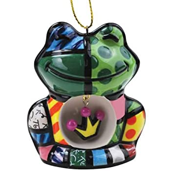 """WL SS-WL-22005 Mosaic Frog Hanging Holiday Ornament with Crown Amphibian, 2.75"""""""