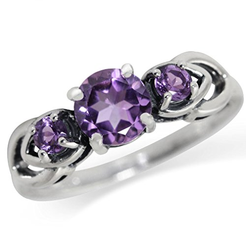 - Natural African Amethyst 925 Sterling Silver Filigree Ring Size 6