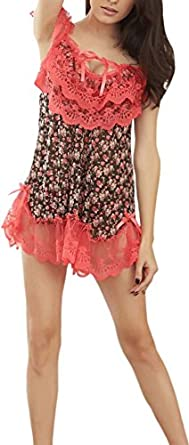 a38d0140fd4 Unomatch Women s Printed Nightgown Lace Lingerie Pink (Free Size ...