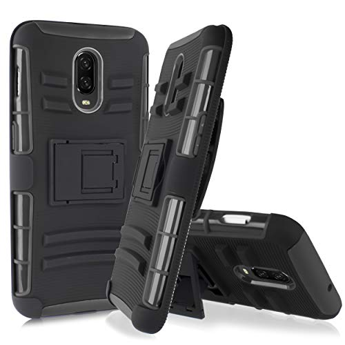 Compatible for OnePlus 6T case, 6goodeals Heavy Duty Full Body Rugged Armor with Kickstand [w-Tempered Glass Screen] + Swivel Holster Belt Clip (Black)