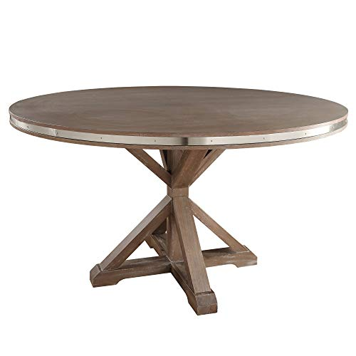 (Inspire Q Abbott Rustic Stainless Steel Strap Oak Trestle Dining Table by Artisan Brown Round Table )