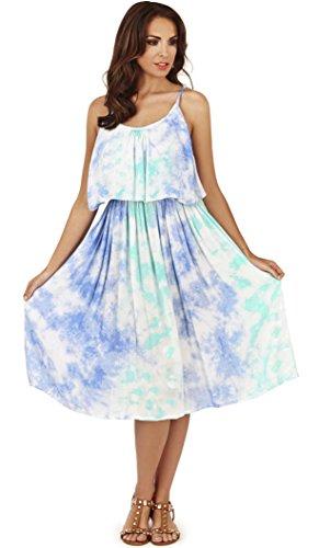 Vestido Teñido de Dama Plisado con Rayado y Volante Pistachio Azul Nubes