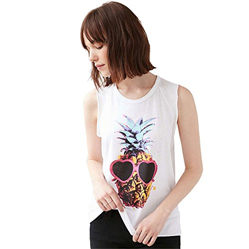 My Wonderful World Women's GIRLS Pineapple glasses printing tee top white t-shirts sleeveless vest - Glasses Top Big Bang