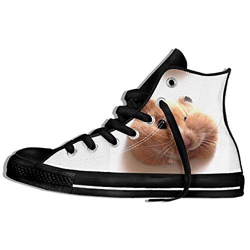 Baskets Montantes Classiques Toile Toile Anti-dérapant Hamster Mignon  Décontracté Marche Pour Hommes Femmes Noir. chaussures  lacet ... d785972df1d