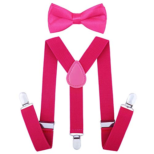 Child Kids Suspenders Bowtie Set - Adjustable Suspender Set for Boys and Girls(25Inches (5 Months to 6 Years),Rose -