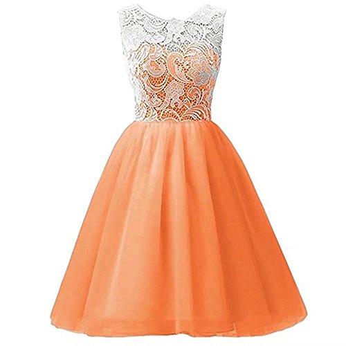 Price comparison product image Kids Showtime Girls Dress Tutu Party Sundress Slim Lace Chiffon One Piece Dress(Orange,7-8Y)