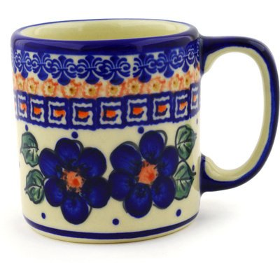 Polish Pottery Mug 12 oz Greek Poppies UNIKAT
