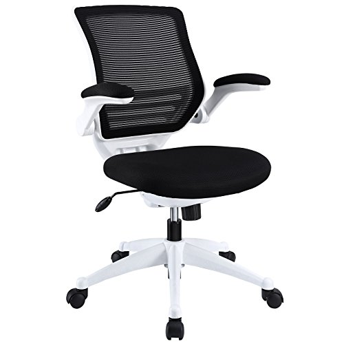 Modway Edge Mesh Back and Black Mesh Seat Office Chair With White Base And Flip-Up Arms - Ergonomic Desk And Computer Chair by Modway