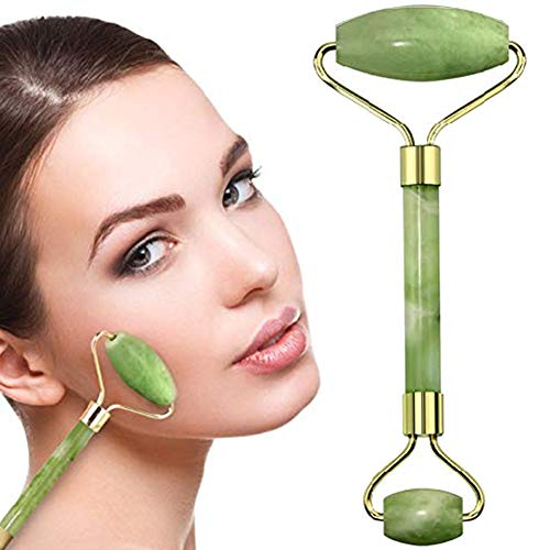 Jade Roller Face Massager With Natural Anti Aging Jade Stone For Face Eye Massage Derma Cream Roller (Green) - Authentic Himalayan Jade Stone ()