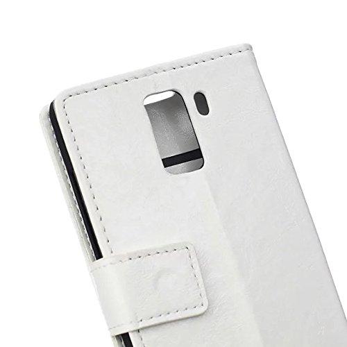 Verrückte Pferd Textur Muster Kunststoff PU Ledertasche horizontale Flip Ständer Fall Brieftasche Fall Deckung Solid Color Case für Huawei Honor 7 ( Color : White )